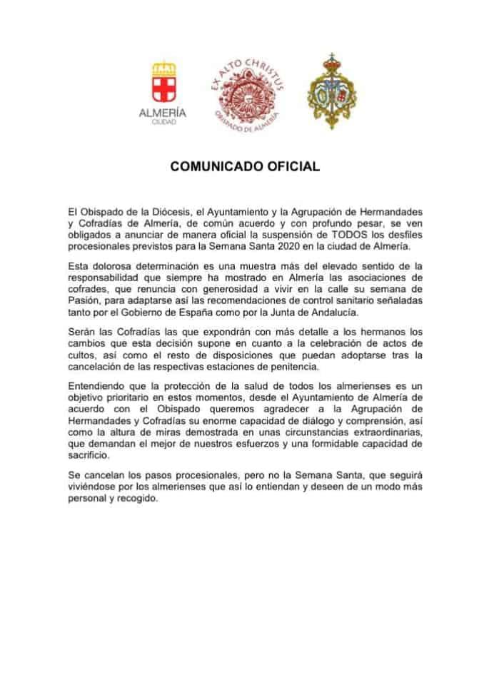 comunicado oficial cancelacion semana santa